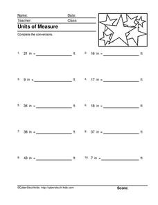 Units of Measure: Inches to Feet Conversions Worksheet