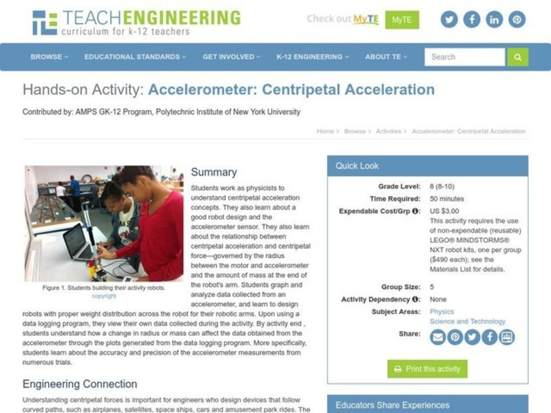 Accelerometer: Centripetal Acceleration Activities & Project