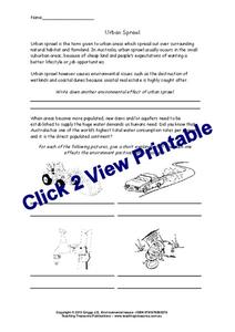 Urban Sprawl Worksheet