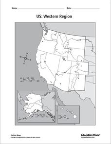 Us Western Region Blank Map US: Western Region Map Graphic Organizer for 5th   12th Grade