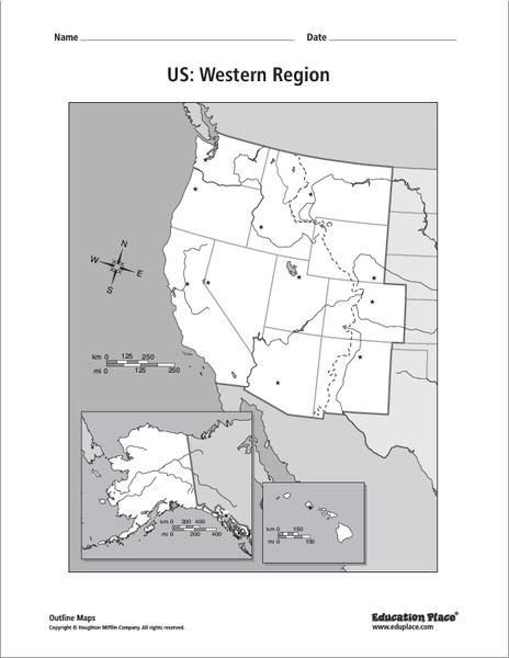 Us Western Region Outline Map US: Western Region Map Graphic Organizer for 5th   12th Grade