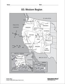 US Western Region Map 4th 12th Grade Worksheet Lesson Planet