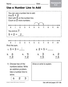 Use a Number Line to Add Worksheet