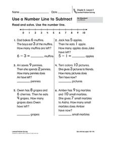 Use a Number Line to Subtract Worksheet