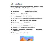 Article Adjectives Worksheet
