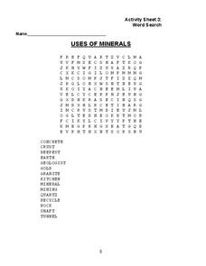 Uses of Minerals Worksheet