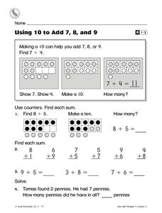 Using 10 to Add 7, 8, and 9 Worksheet