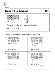 Using 10 to Subtract Worksheet