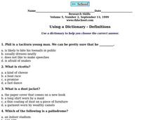 Using a Dictionary- Definitions Worksheet