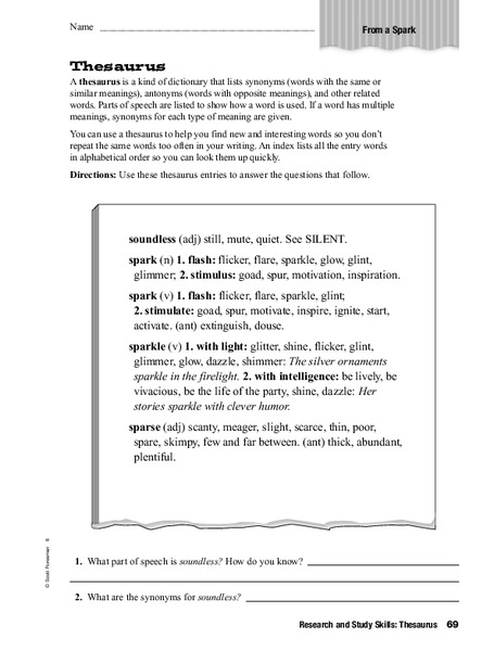 Using A Thesaurus Worksheet For 5th 6th Grade Lesson Planet