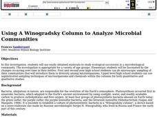 Using A Winogradsky Column to Analyze Microbial Communities Lesson Plan