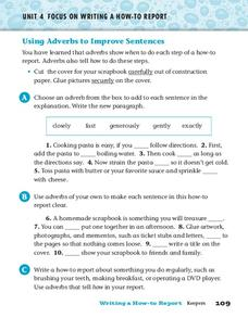 Using Adverbs to Improve Sentences Worksheet