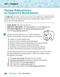Using Adjectives to Improve Sentences Worksheet
