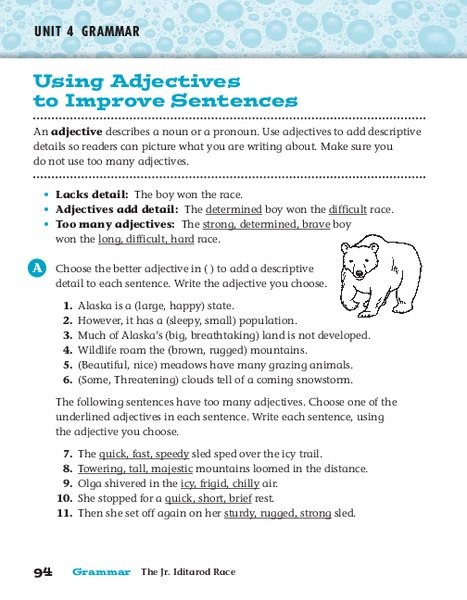 Using Adjectives to Improve Sentences Worksheet for 4th ...