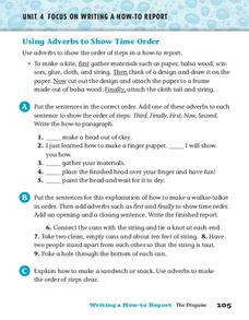 Using Adverbs to Show Time Order Worksheet