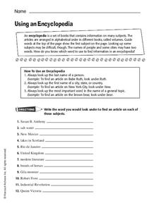 Using an Encyclopedia Worksheet