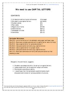 Using Capital Letters Worksheet