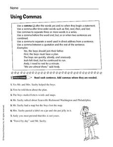 Commas In Direct Address Lesson Plans Worksheets