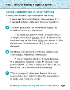 Using Contractions in Your Writing Worksheet
