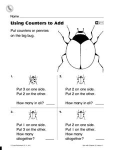 Using Counters to Add Worksheet