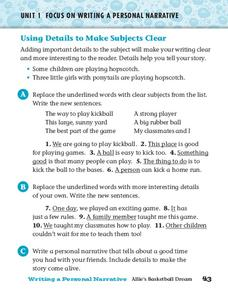 Using Details to Make Subjects Clear Worksheet