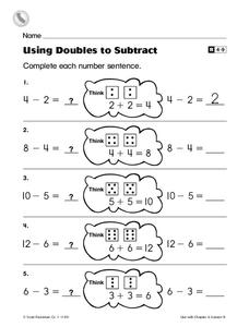 Using Doubles to Subtract Worksheet