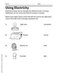 Using Electricity Worksheet