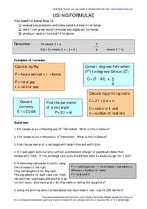 Using Formulae Worksheet