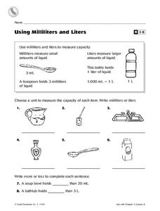 Using Milliliters And Liters Worksheet