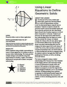Using Linear Equations to Define Geometric Solids Lesson Plan