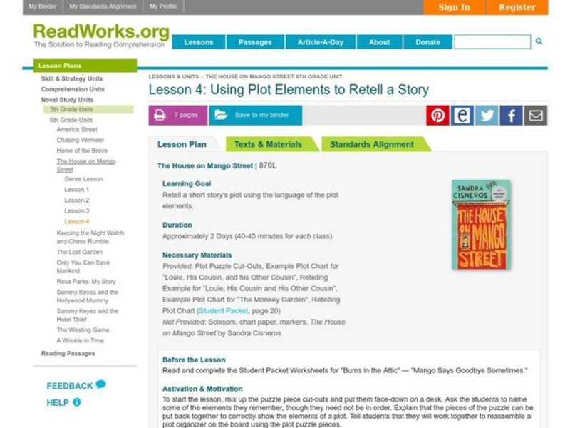 Using Plot Elements to Retell a Story Lesson Plan