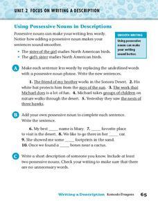 Using Possessive Nouns in Descriptions Worksheet for 2nd ...