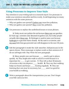 Using Pronouns to Improve Your Style Worksheet