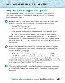 Using Quotations to Support Your Opinions Worksheet