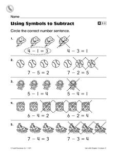 Using Symbols to Subtract Worksheet