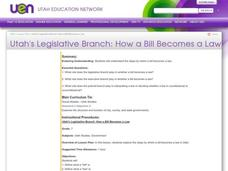 Utah's Legislative Branch: How a Bill Becomes a Law Lesson Plan