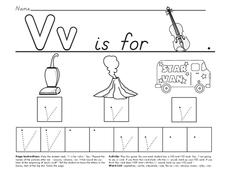 V is for Violin Worksheet