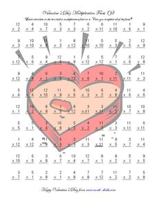 Valentine's Day Multiplication Facts Worksheet