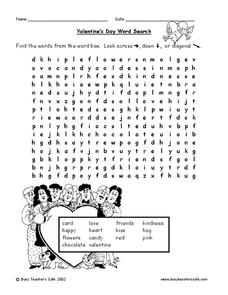 Valentine's Day Word Search Lesson Plan