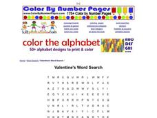 Valentine's Word Search Worksheet