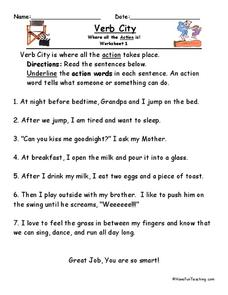 Verb City Worksheet