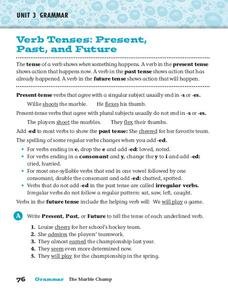 Verb Tenses: Present, Past, and Future Worksheet