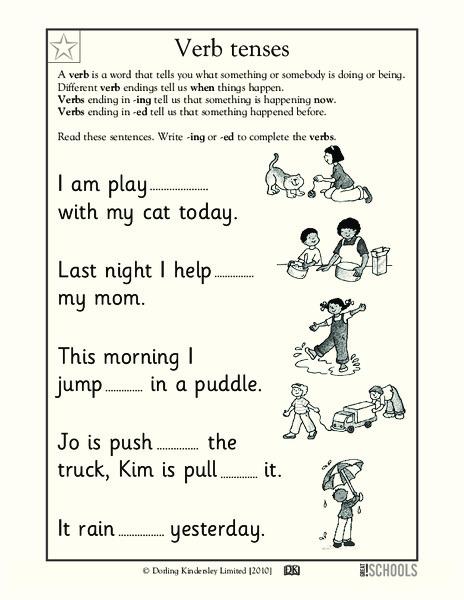Verb Tenses Worksheet for Kindergarten - 2nd Grade | Lesson