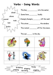 Verbs: Doing Words Worksheet