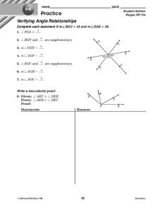 Verifying Angle Relationships Worksheet for 10th Grade ...