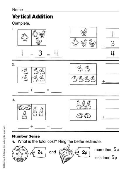 vertical addition worksheet for 1st grade lesson planet. Black Bedroom Furniture Sets. Home Design Ideas