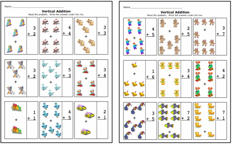 vertical addition worksheet for kindergarten 1st grade. Black Bedroom Furniture Sets. Home Design Ideas