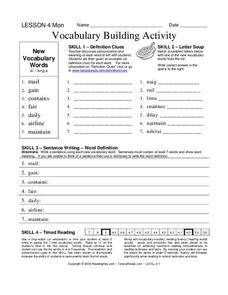 Vocabulary Building Activity Worksheet