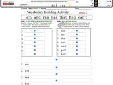 Vocabulary Building Activity: Short a Worksheet