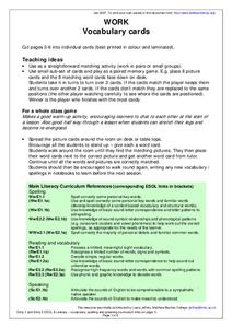 Vocabulary Cards Worksheet